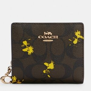 NWT COACH X Peanuts Snap Wallet In Signature Canvas With Woodstock Print